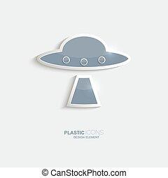 Plastic icon ufo symbol. Sky blue color. Creative element...
