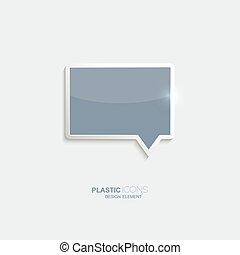 Plastic icon bubble speech symbol. Sky blue color. Creative...