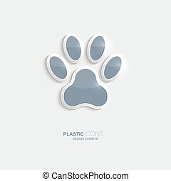 Plastic icon footprint symbol. Sky blue color. Creative...