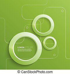 Modern abstract design with 3D glowing rings, guides points....