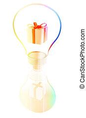 gift box inside a lightbulb