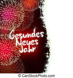 Gesundes Neues Jahr German Happy New Year - colorful...