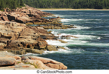 Otter cliffs, Maine - Otter cliffs and Atlantic oceans in...