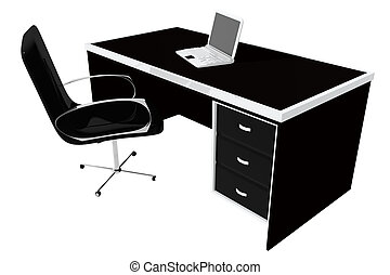 Desk with laptop