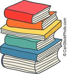 Bücherstapel clipart  Clip Art Vektor von buecher, karikatur, stapel - freehand ...