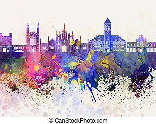 Cambridge skyline in watercolor background