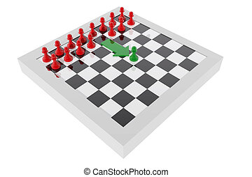 Pawn advancing on the board Concept of leadership