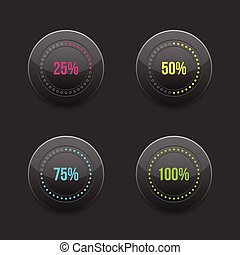 set of round progress bar element with multicolored scales...