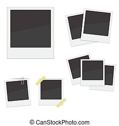Set Polaroid photo frames on white backgroundVector