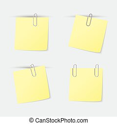Set of yellow sheets attached clip for records, memo, ad,...