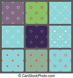 Set of seamless patterns in point with  polka dots