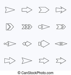 Set hollow vector arrows on a light background. Web Designs