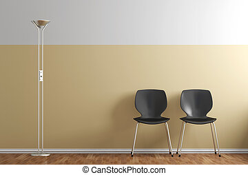 Waiting room with chairs and lamp yellow wall