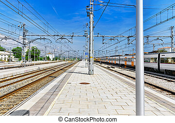 Suburban railway train at the railways stantion. - Suburban...