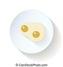 Scrambled eggs flat icon vector graphic illustration
