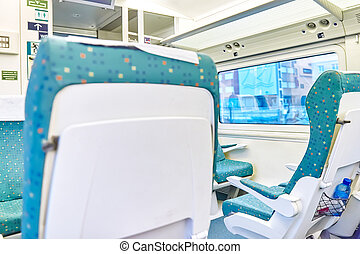 Interior of the high-speed train. - Interior of the...