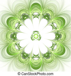 Abstract background. Green - white palette. Raster fractal...