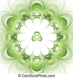 Abstract background. Green - white palette. Raster fractal...