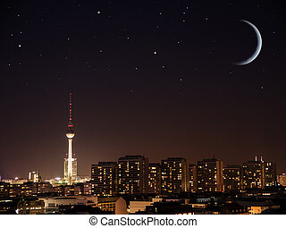 berlin night - berlin by night with moon and stars