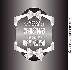 Christmas card with  a bow and ribbon. vector