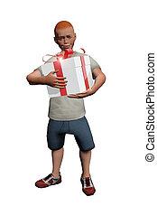 Boy opening a gift box