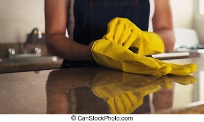 Hispanic Woman Cleaning Home - Young hispanic woman at home,...