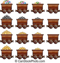 Iron old rusty mine cart set game assets tube