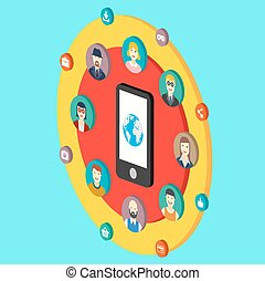 Social network illustration with avatars earth mobile phone