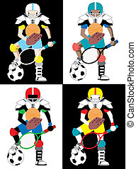 School Sports - Collection of 4 versions of kid representing...