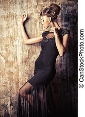 stunning female - Stunning female model in black evening...