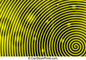 Yellow and black spiral with red circles