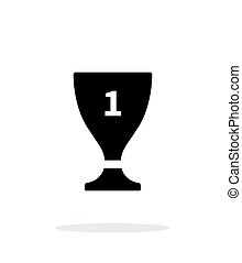 Trophy cup flat vector icon on white background. - Trophy...