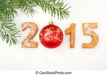 Date new year of 2015 homemade on snow with fir with red...