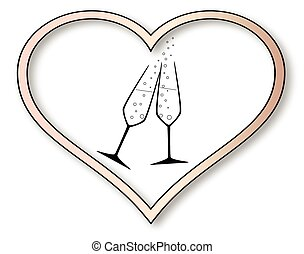 Love Celebration - Two charged champagne glasses with...
