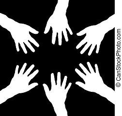 black and white hands as team - black background with white...