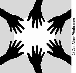 circle of  hands as team - circle with hands as team