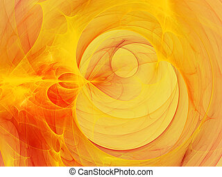 Digitally rendered abstract orange fractal flame storm. Background or wallpaper.