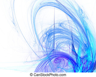 Digitally rendered abstract blue energy wave fractal on...