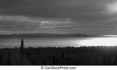 Lake Superior B & W. Time lapse - North shore of Lake...