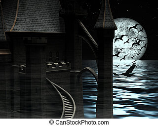 Dark Mysterious Castle at Moon background with Black Birds -...