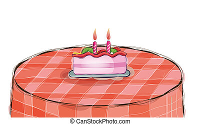 cake with candle on table