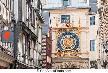 Famous old clock of Rouen, Normandy, France.