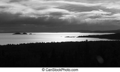 Lake Superior B & W. Timelapse. - North shore of Lake...