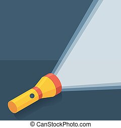 Yellow flashlight in flat style on dark background - Yellow...
