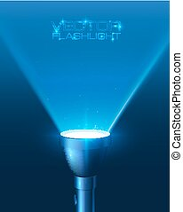 Blue shining flashlight light vector background - Blue...