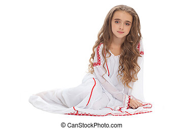 beautiful girl teen in white clothes brown hair isolated on...