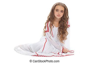 beau, girl, adolescent, dans, blanc, vêtements, brun,...