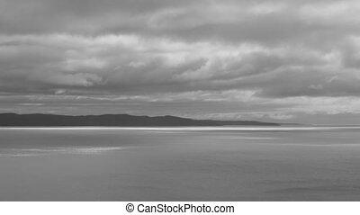 Lake Superior B&W. Time lapse - North shore of Lake...