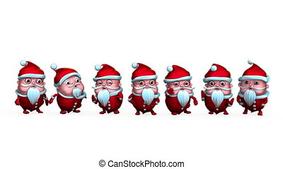 Lucky 7 Santa Clauses making funny movements. Seamless,...