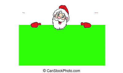 Happy Santa Claus over green blank. 4k animation.